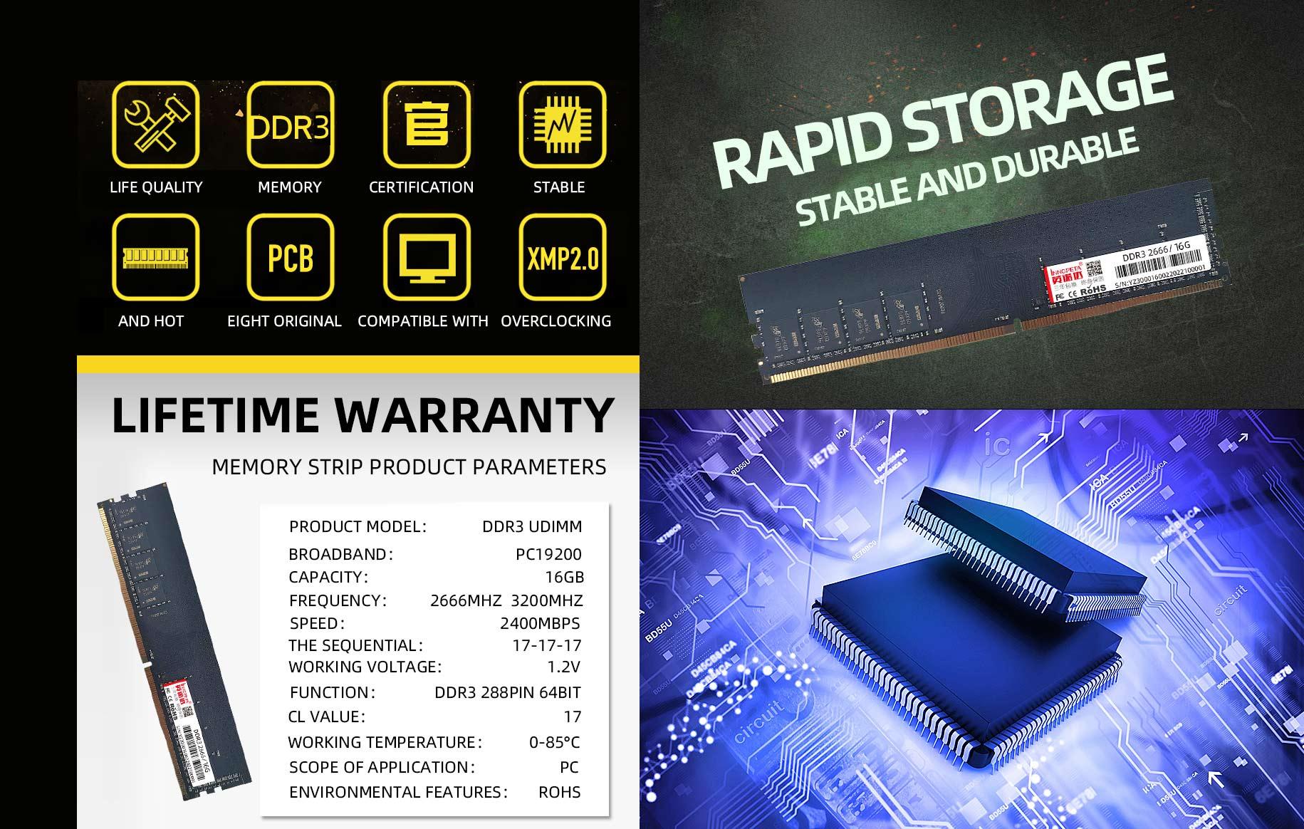 DDR3 2666/3200 16GB desktop MEMORY strip