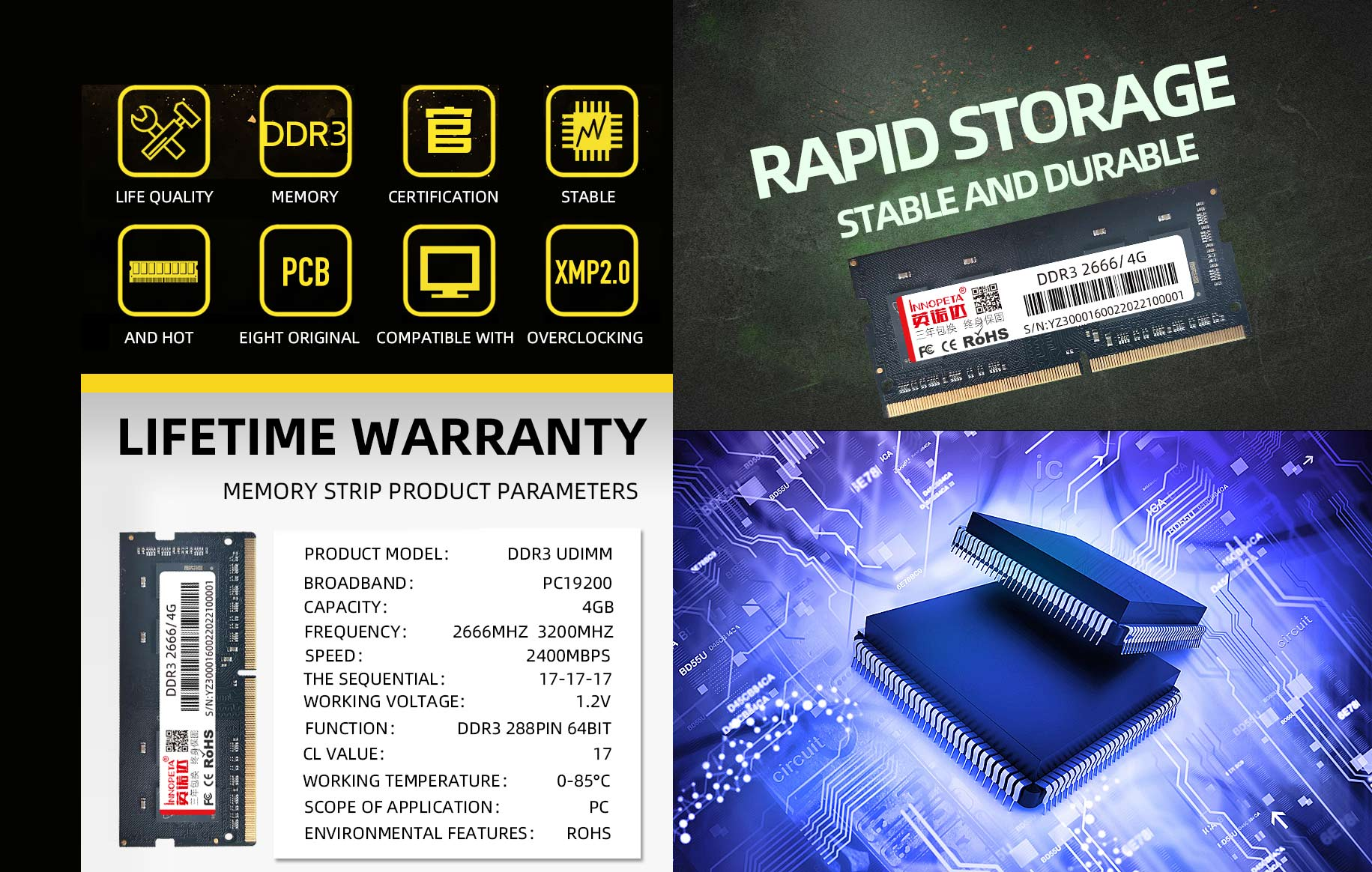 DDR3 2666/3200 4GB notebook memory strip