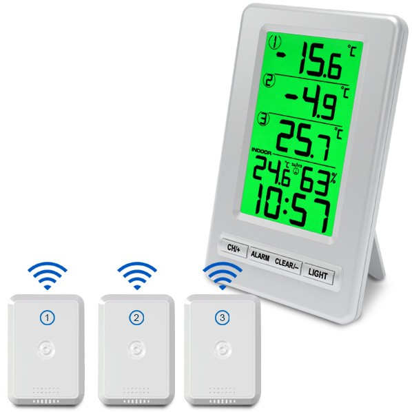 Wireless thermometer with 3 sensors