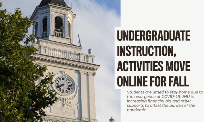 重磅!JHU学费减免10%,Princeton改变原开学计划,课程和活动均转移线上