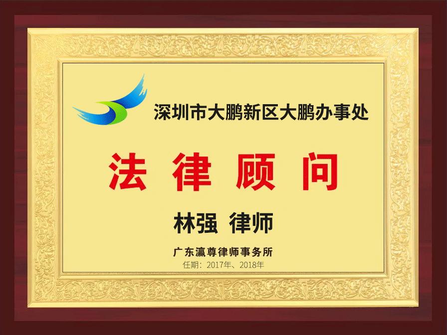瀛尊-深圳市大鹏新区大鹏办事处法律顾问