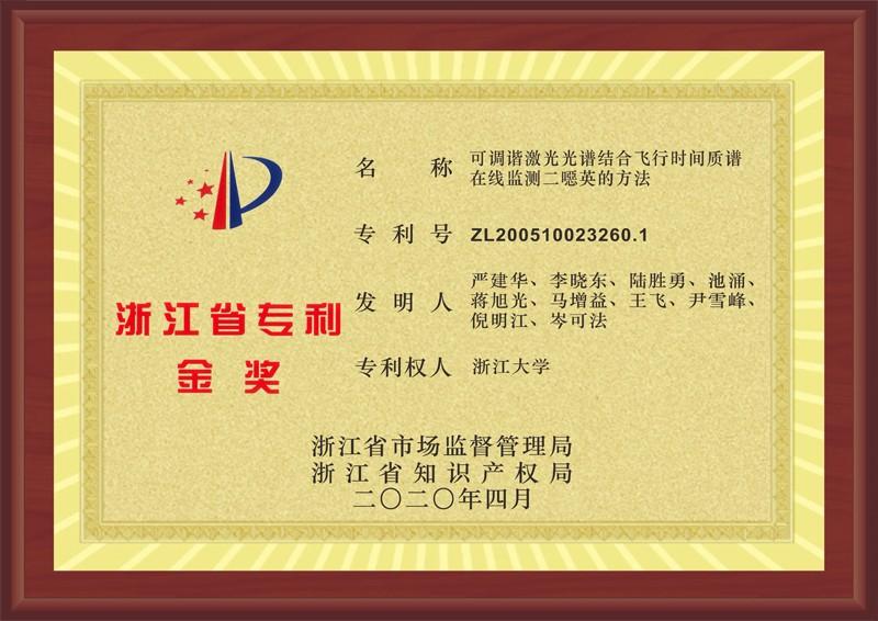 产品核心发明专利荣获2019年度浙江省专利金奖