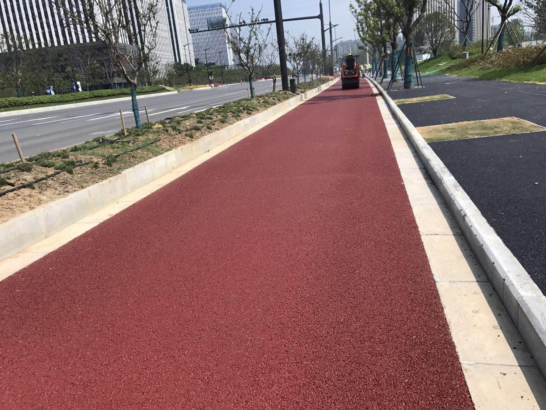 海川新材彩色沥青材料为南京江北新区道路建设添彩
