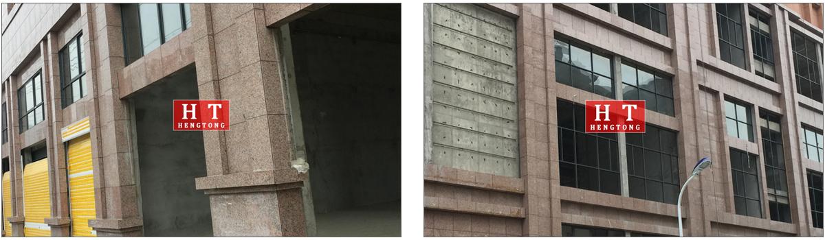 湖北黄冈酒店枫叶红光面外墙干挂案例