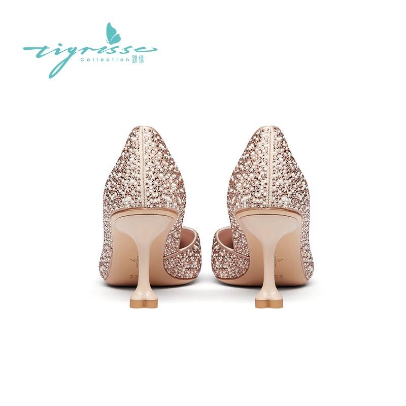 仙女风水钻珍珠尖头高跟水晶鞋婚鞋