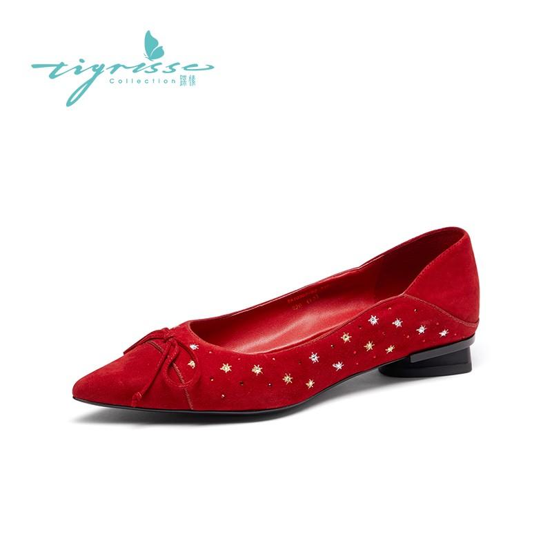 刺绣水钻气质芭蕾舞平底鞋羊绒单鞋
