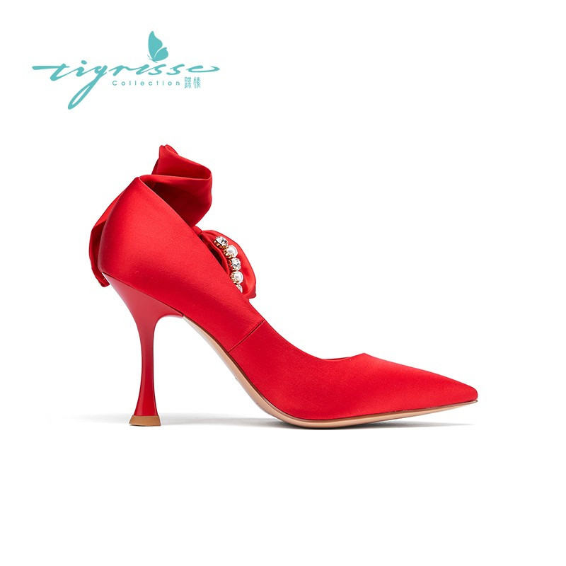 气质珍珠真丝细高跟水钻婚鞋单鞋