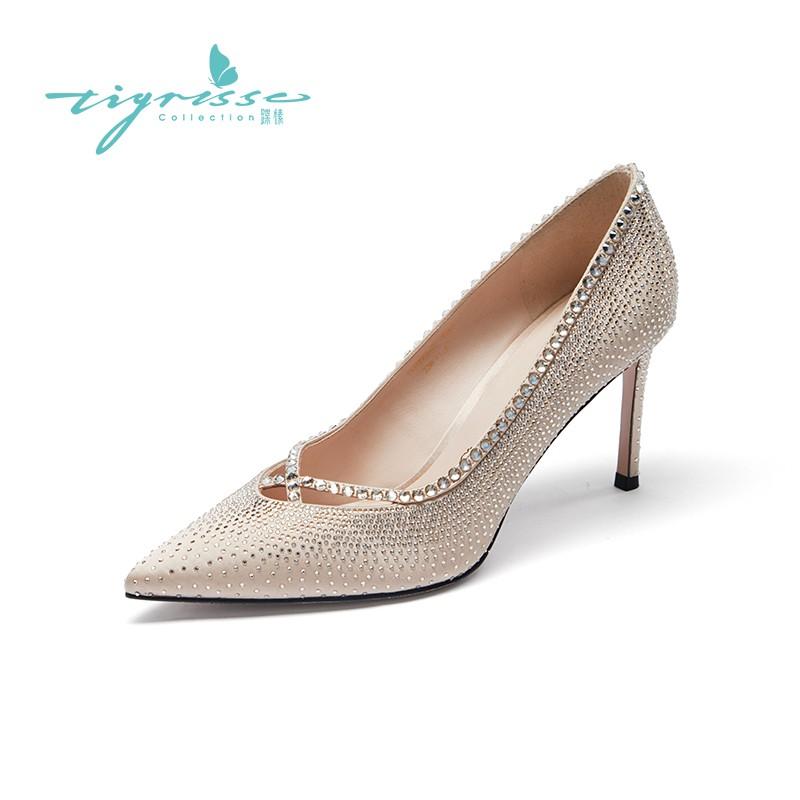 仙女风水钻袢带气质高跟水晶鞋婚鞋