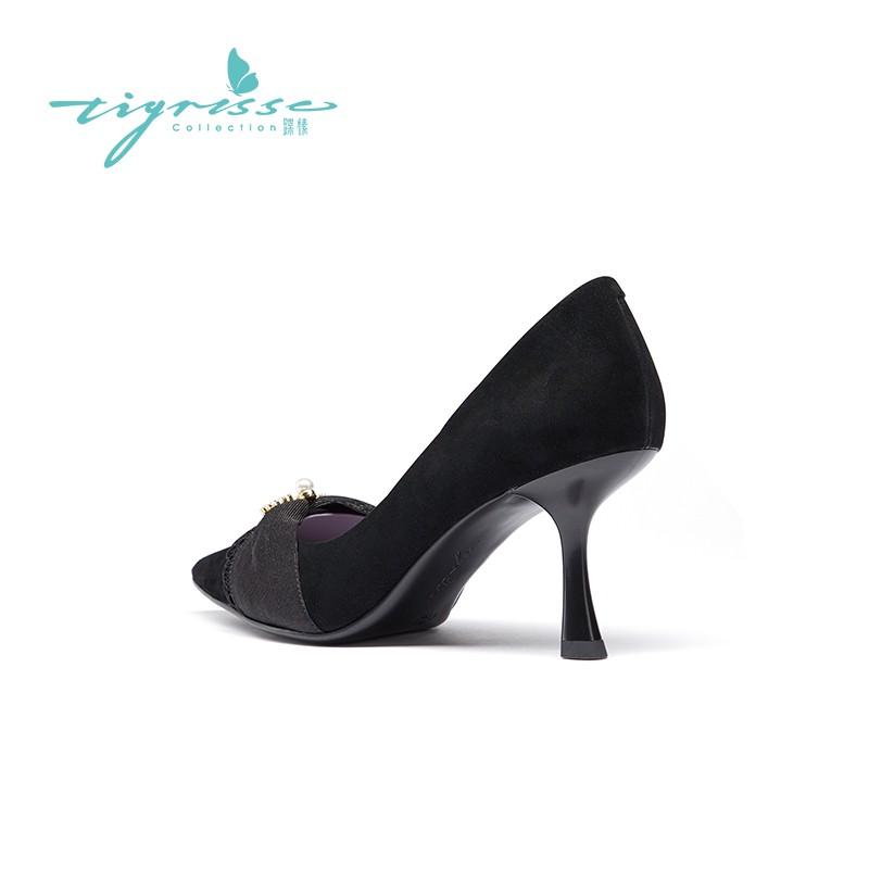 法式仙女风温柔珍珠绒绸高跟单鞋