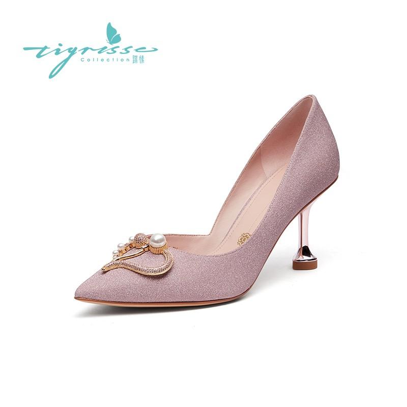 仙女水钻珍珠扣浅口细高跟婚鞋单鞋
