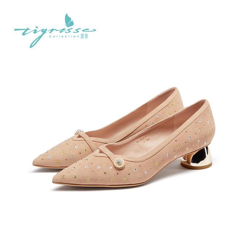 刺绣水钻气质珍珠羊绒浅口中低跟单鞋