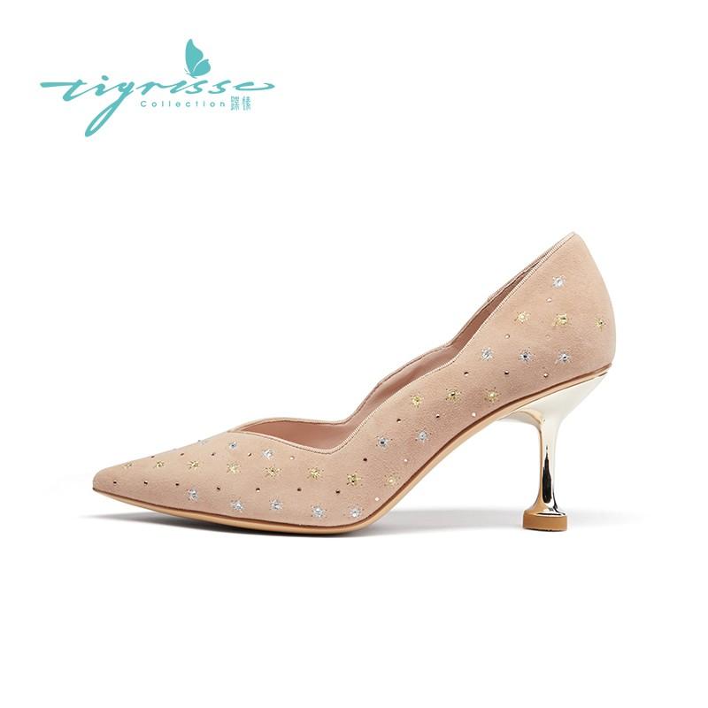 法式刺绣水钻气质羊绒细高跟婚鞋单鞋