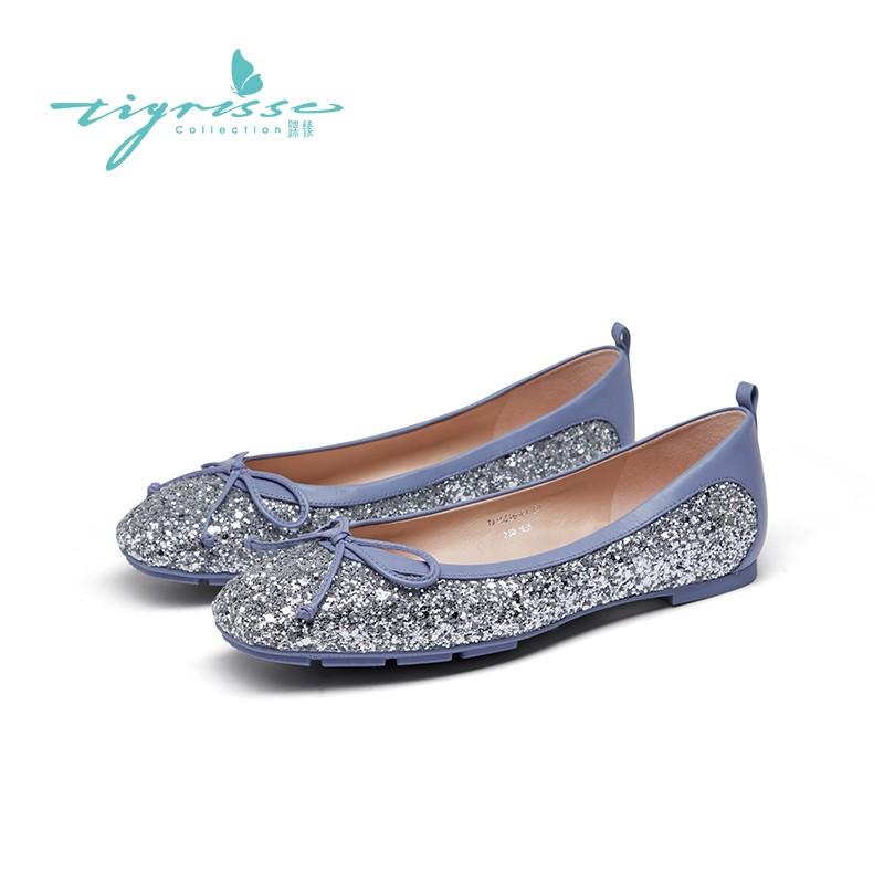 格利特两穿蝴蝶结水晶鞋舒适豆豆鞋