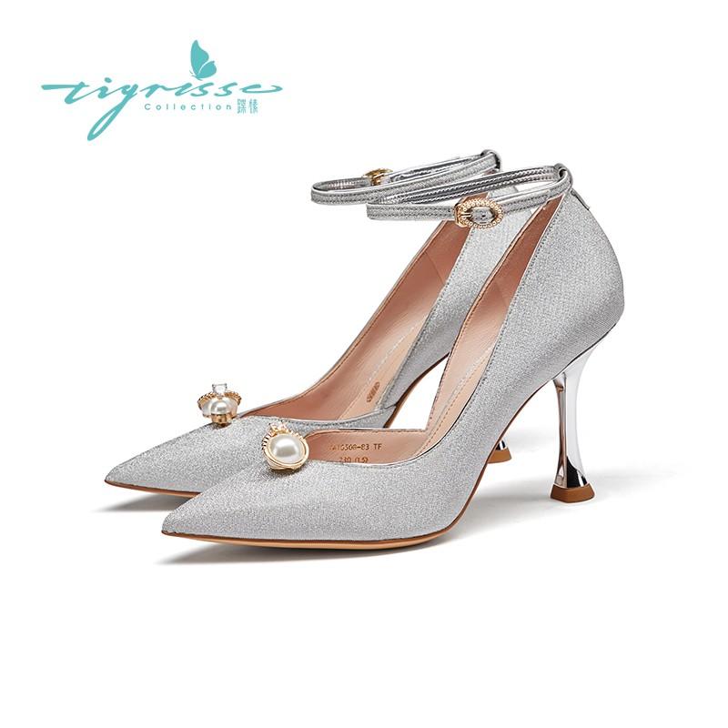珍珠扣细高跟水晶鞋珍珠婚鞋单鞋