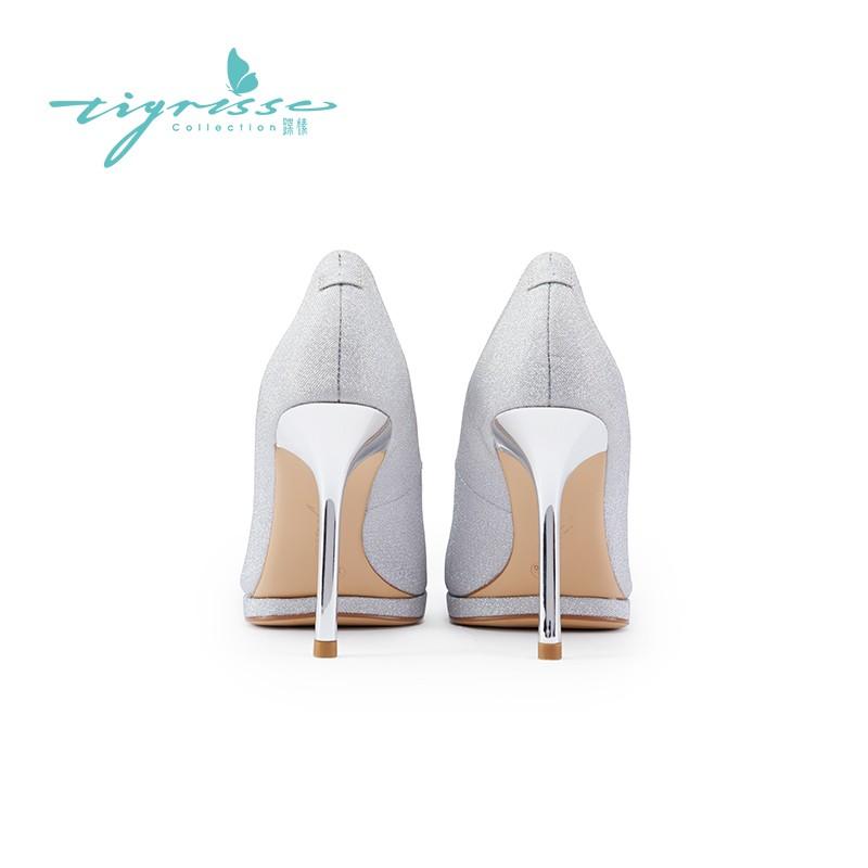 仙女蝴蝶结细高跟水晶鞋婚鞋高跟单鞋