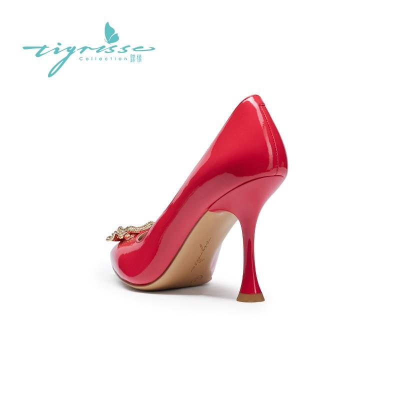 仙女风气质水钻高跟尖头单鞋水晶鞋