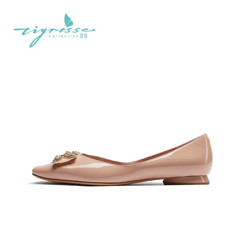 仙女风珍珠水钻方头舒适平底水晶鞋