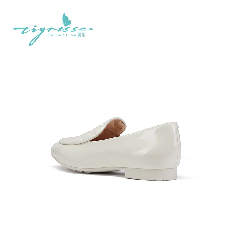 格纹牛漆皮圆头绗缝软底乐福鞋豆豆鞋