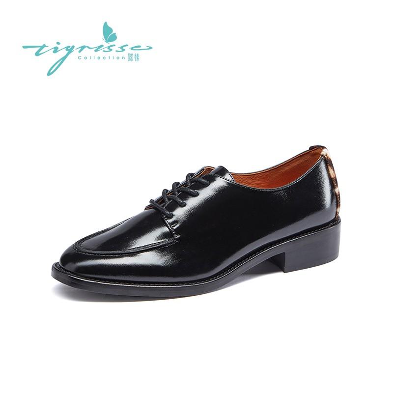 英伦系带牛津鞋珍珠铆钉低跟小皮鞋