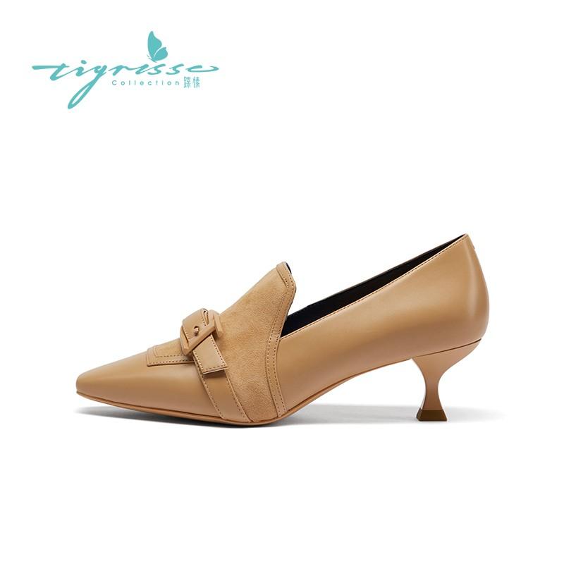 法式复古气质小猫跟小皮鞋深口单鞋