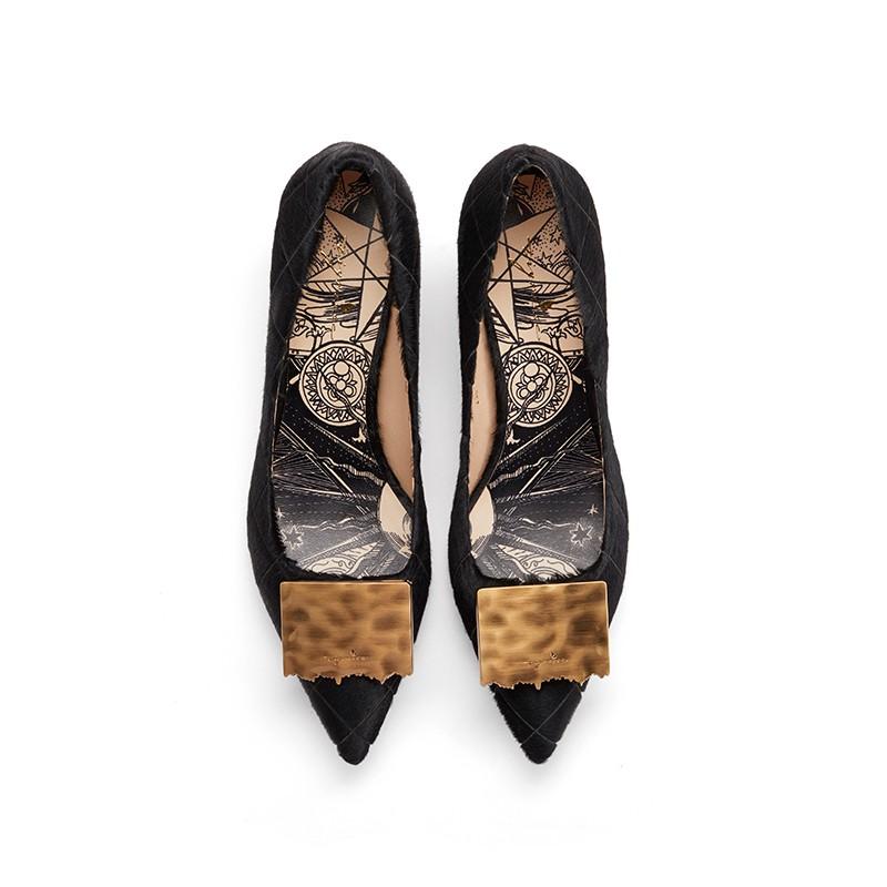法式复古方扣印花牛毛皮细高跟单鞋