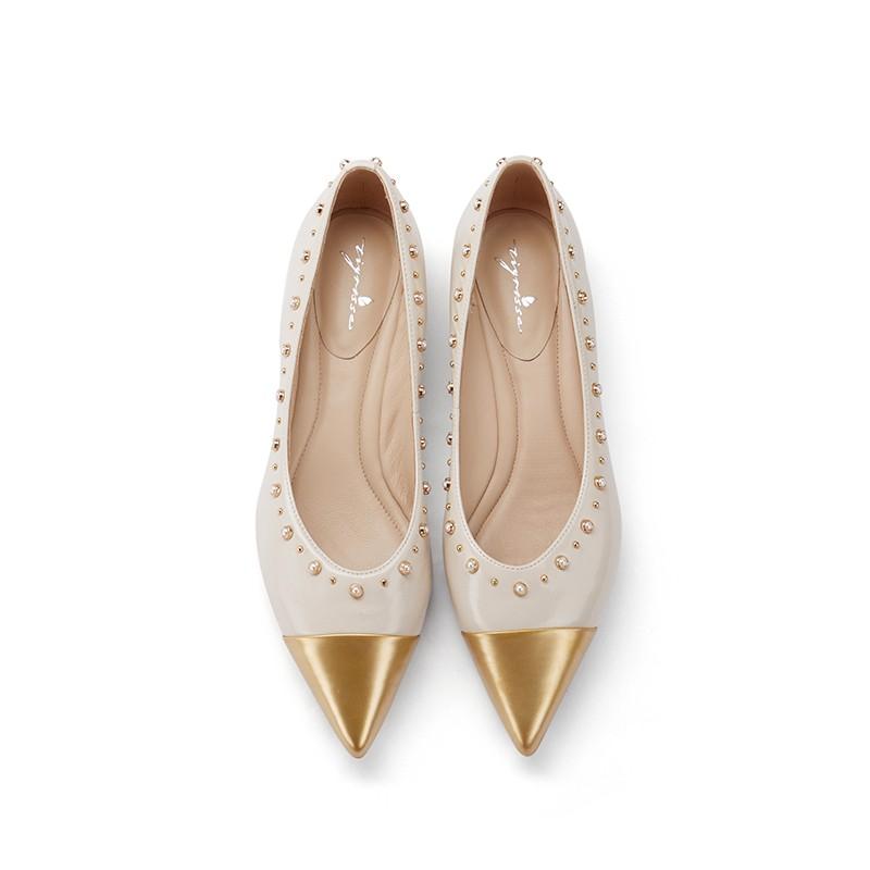 ins潮珍珠尖头软底舒适低跟单鞋
