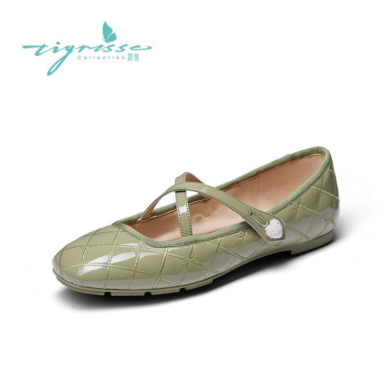 小香风圆头绗缝轻便舒适玛丽珍豆豆鞋