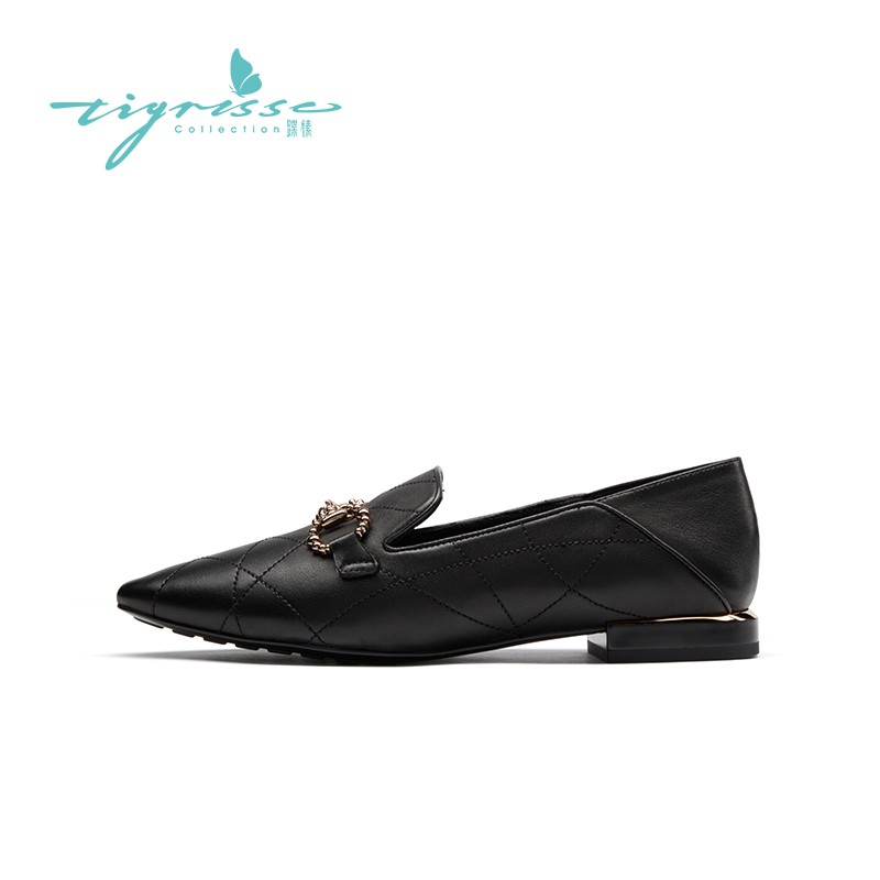 格纹尖头乐福鞋气质舒适软底豆豆鞋