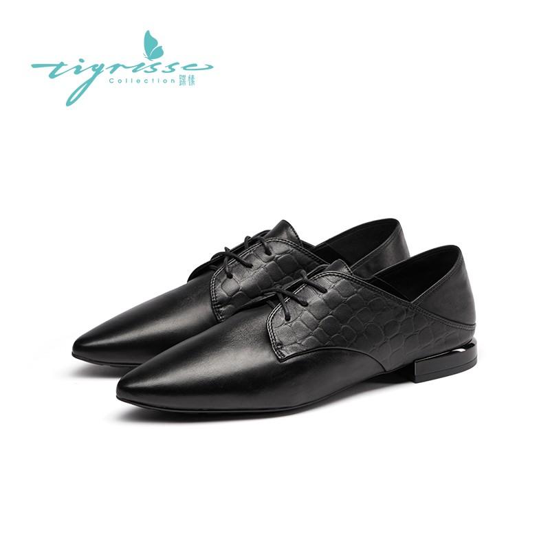 法式小香风舒适气质系带软底小皮鞋