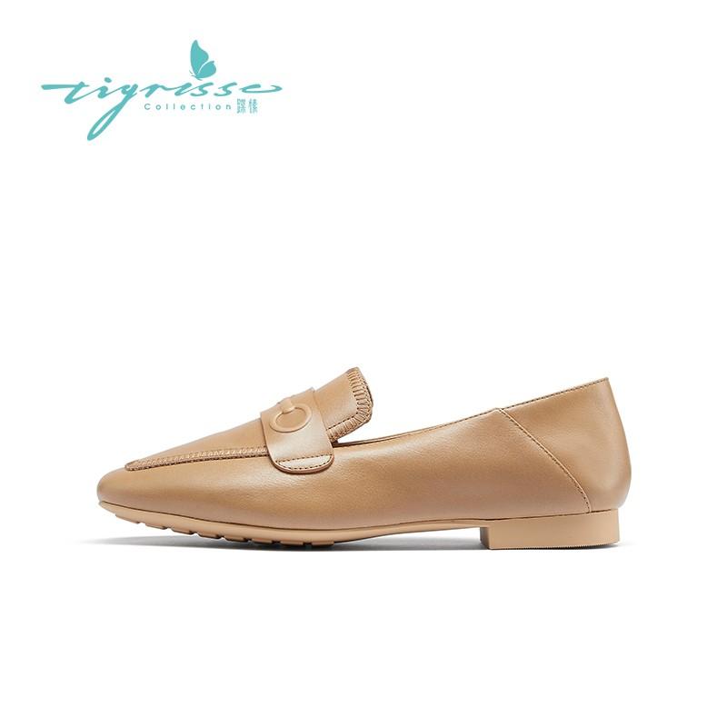 混种羊皮复古舒适软底乐福鞋豆豆鞋