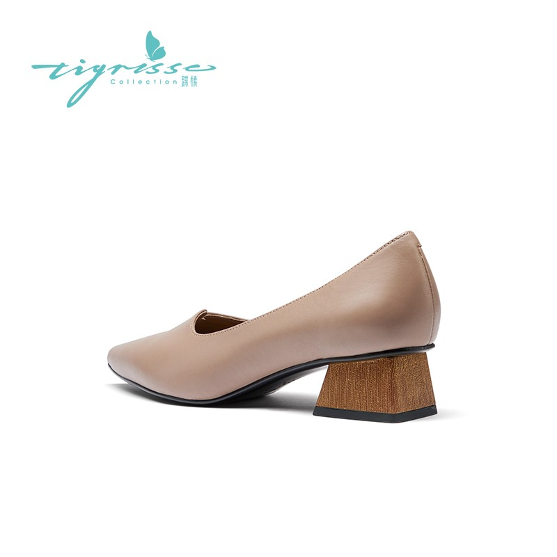 法式尖头中跟胎牛皮小皮鞋舒适奶奶鞋