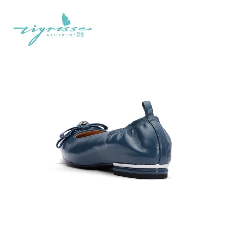 油蜡混种羊皮蝴蝶结舒适软底奶奶鞋