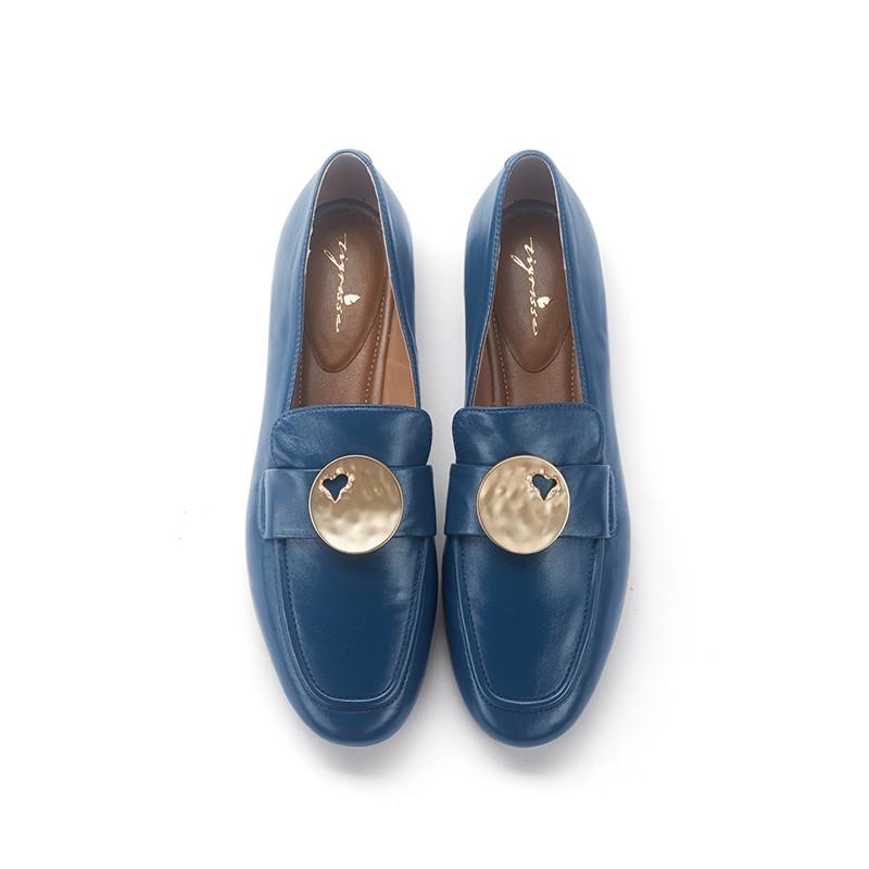 油蜡混种羊皮舒适软底乐福鞋豆豆鞋