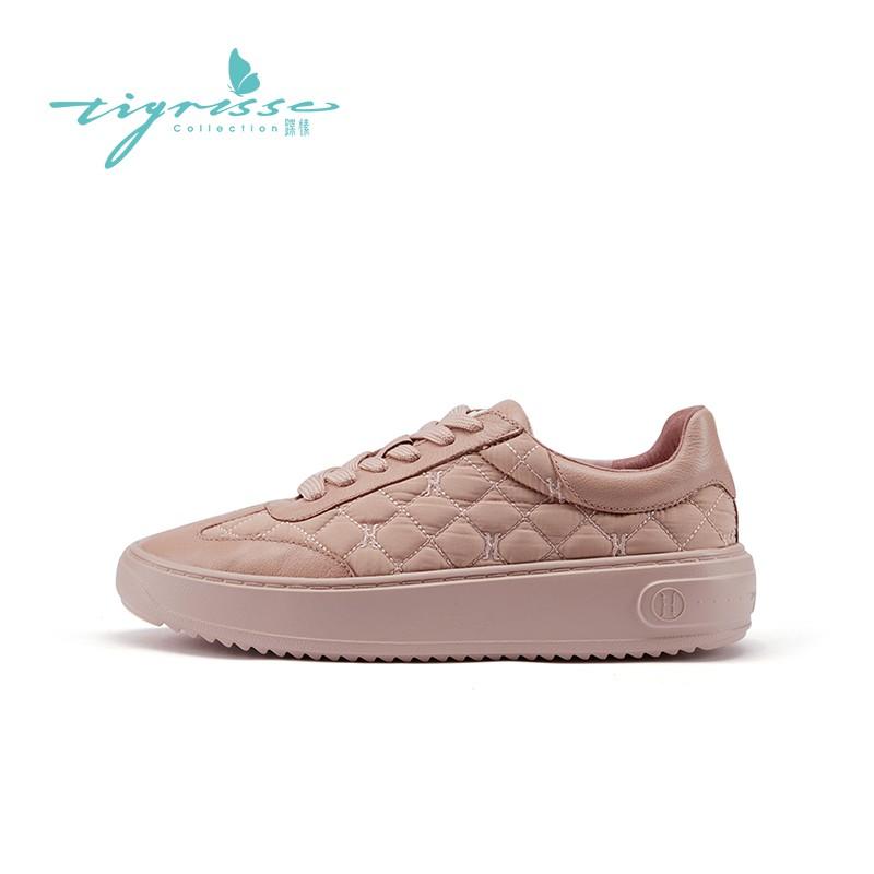 百搭复古厚底小白鞋绗缝轻便运动鞋