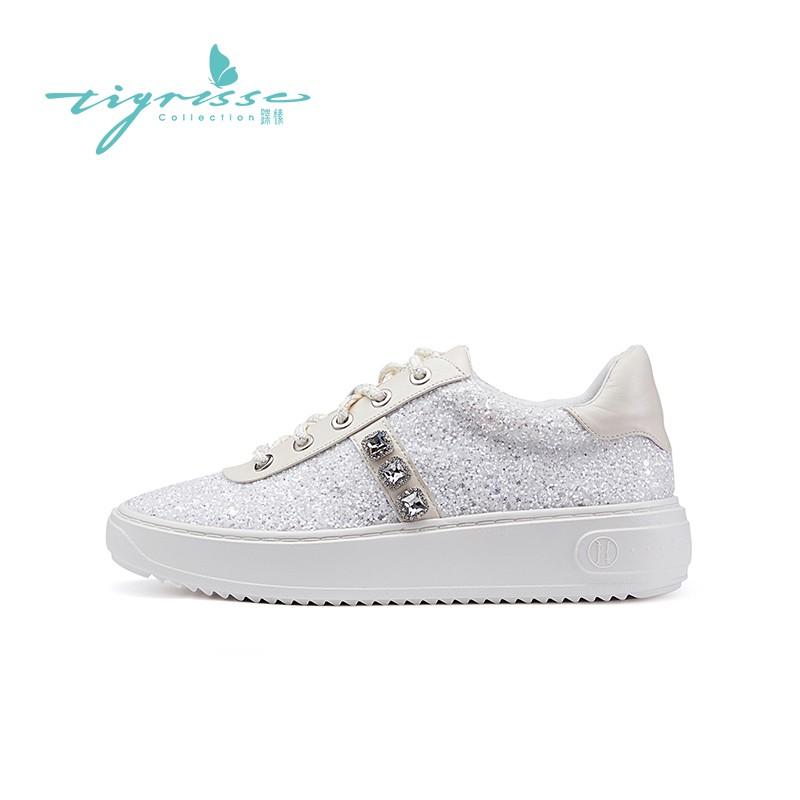 ins潮网红水晶鞋厚底小白鞋运动鞋