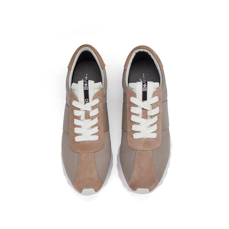 复古百搭绑带厚底运动鞋慢跑小白鞋
