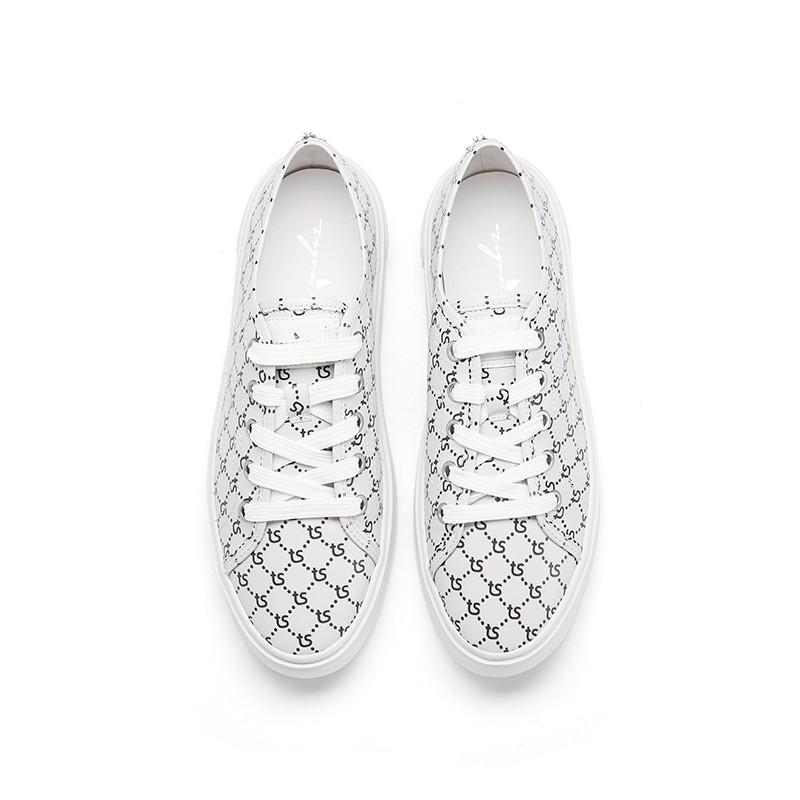 TS字母牛皮革厚底舒适板鞋运动鞋