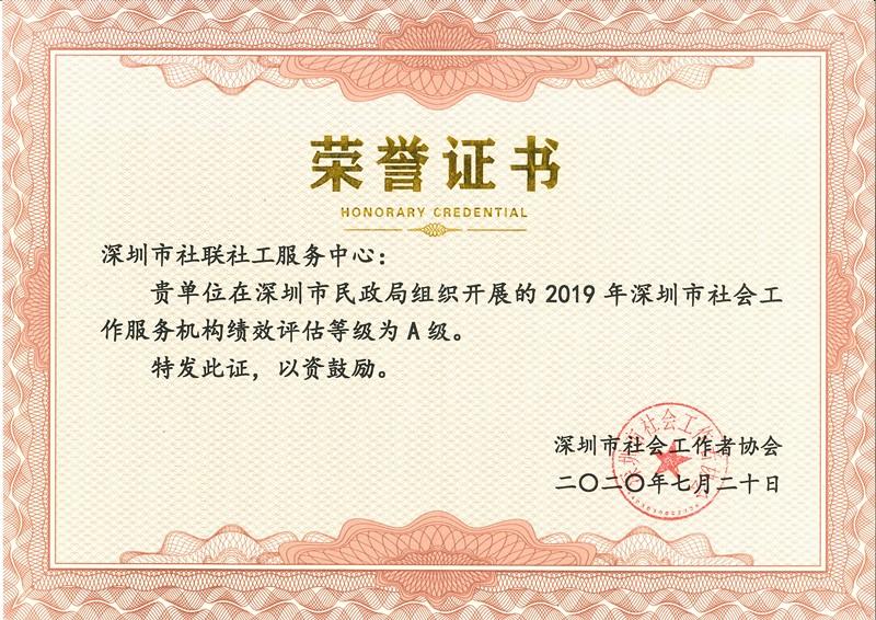 2019年深圳市社会工作服务机构绩效评估A级