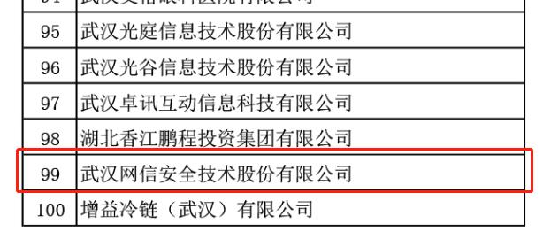 網信安全入選武漢服務業百強榜