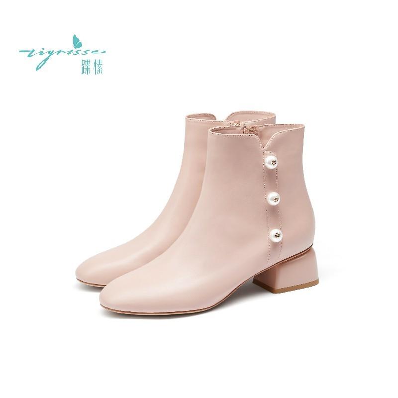 胎牛皮珍珠舒适圆头短靴