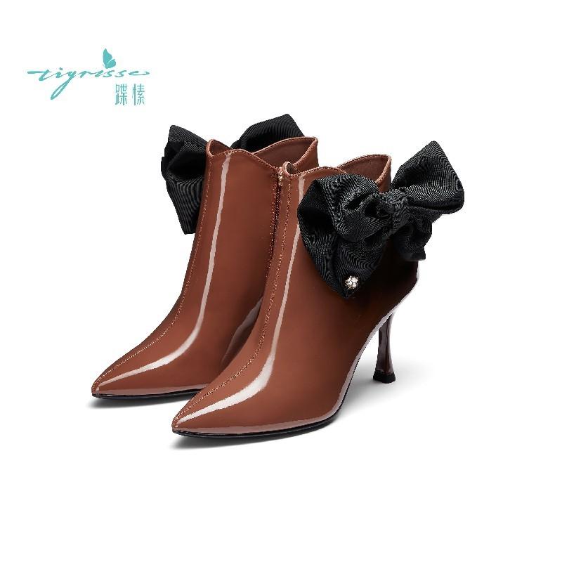 牛漆皮蝴蝶结两穿尖头钻扣短靴