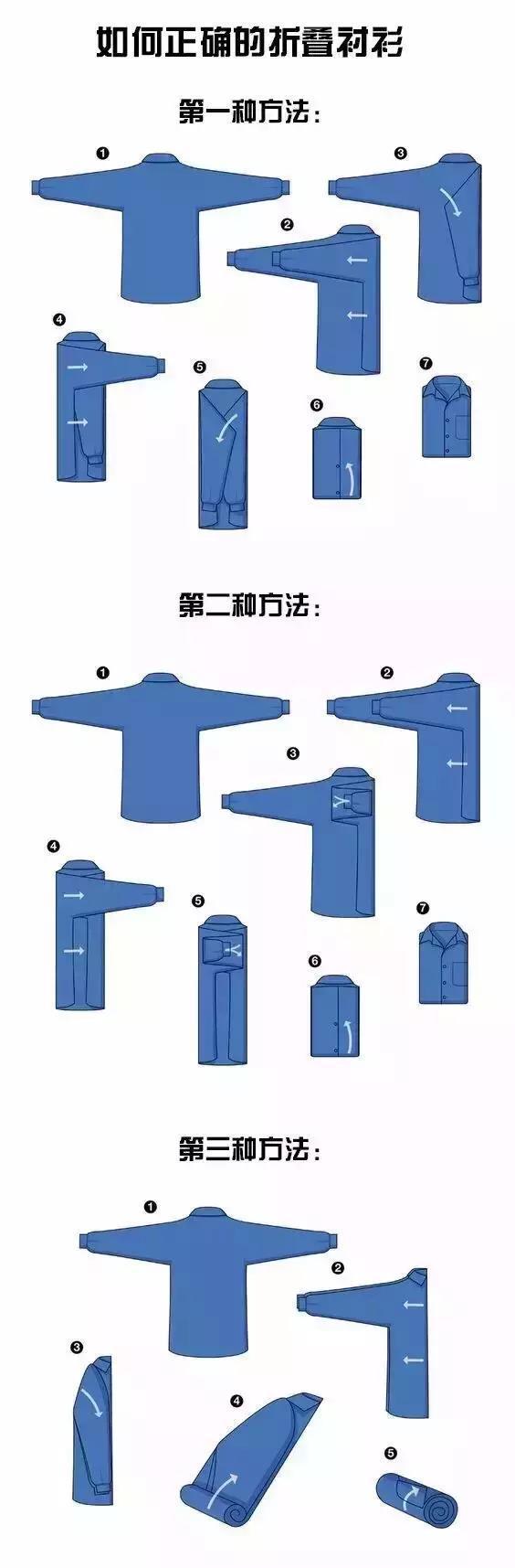 如何正确折叠西服衬衣,有几种方法呢?