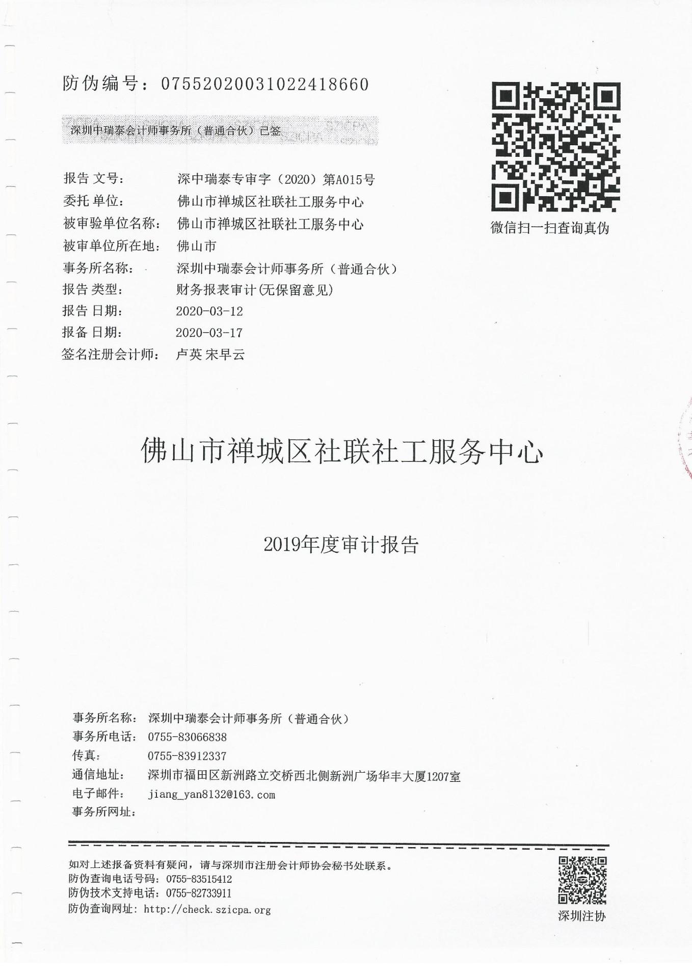 2019年度财务审计报告
