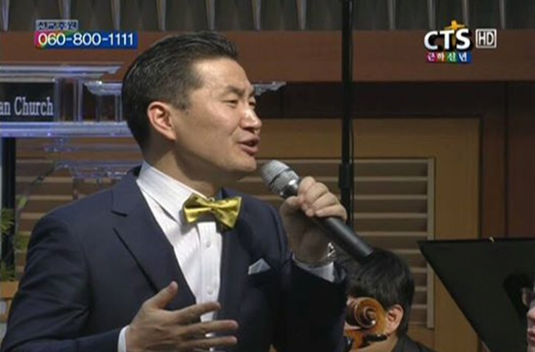 South Korean CTS TV station church broadcast scene