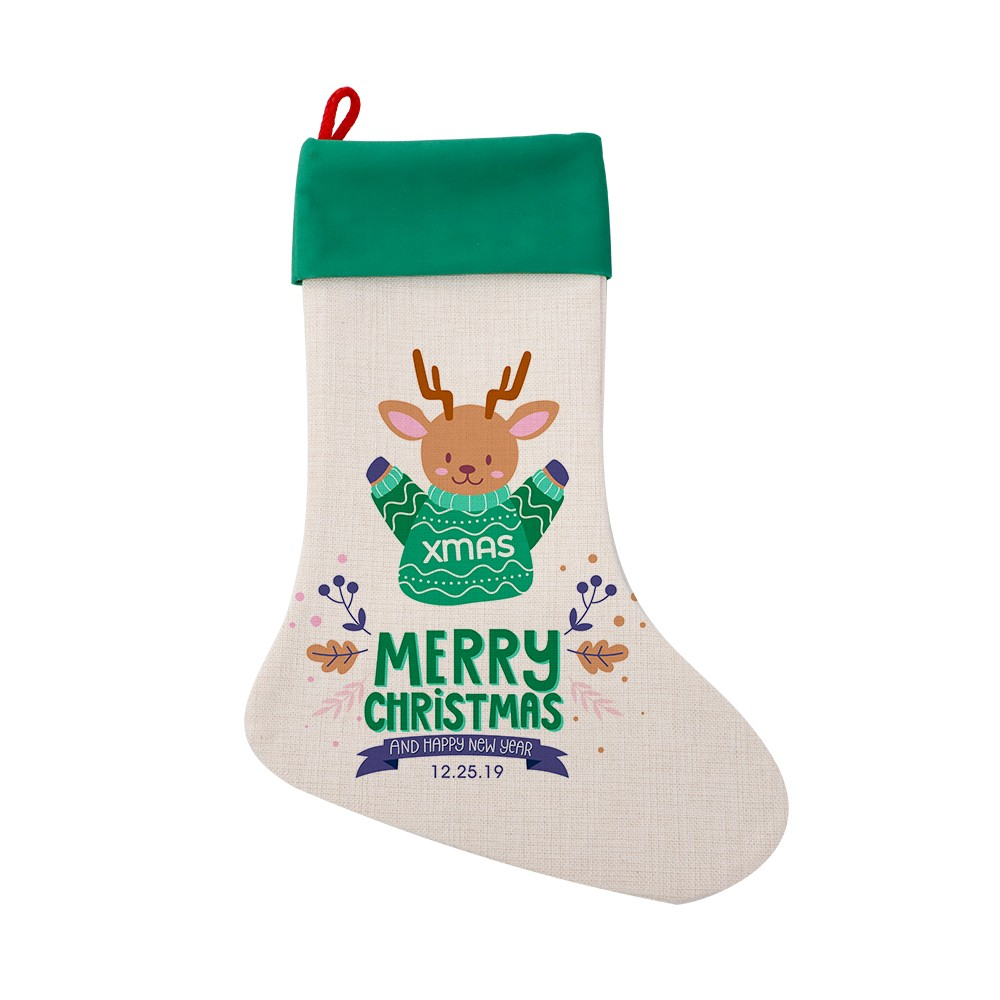 Linen Xmas Stocking Green