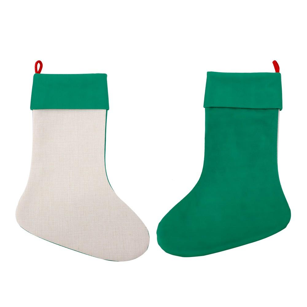Linen Xmas Stocking Green
