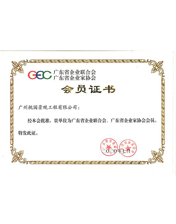 广东省企业联合会、广东省企业家协会会员证书
