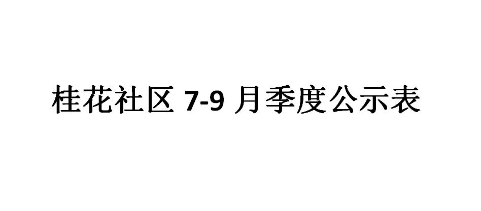 桂花社区7-9月季度公示表