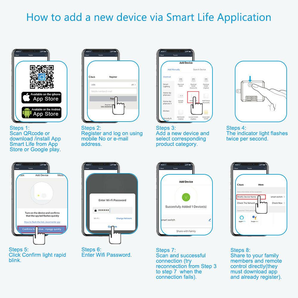 Shiwaki Switch Smart Plug 10A Relay Module Kit Work with Homekit//Google Assistant