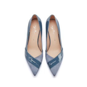 时尚高跟鞋--简约气质羊反绒拼接尖头细高跟单鞋